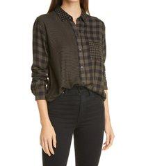 women's rails hunter mixed plaid button-up shirt, size xx-small - green