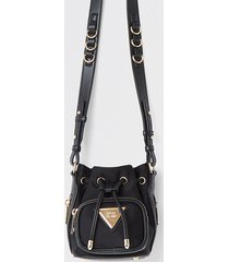 river island womens black satin mini duffle bag