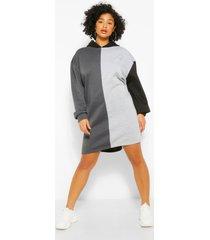 plus colour block sweatshirt jurk met capuchon, zwart