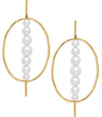 nova 18k yellow gold & 5-10mm freshwater pearl drop earrings