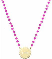colar piuka medalha love cristais pink folheado a ouro 18k feminino - feminino