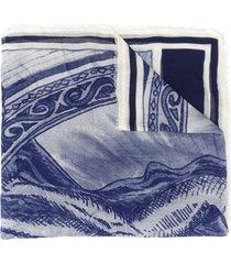 faliero sarti logo embroidered scarf - blue