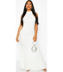 high neck strappy back maxi dress, ivory
