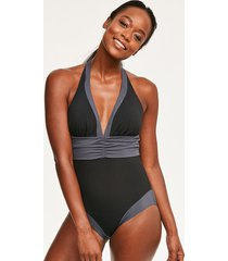 edge colourblock shaping one-piece swimsuit - longer length