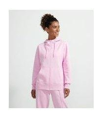 jaqueta esportiva básica em moletom com capuz e bolso canguru | get over | roxo | g
