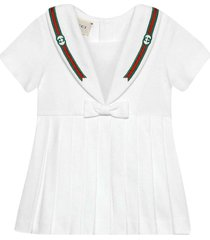 gucci white dress with bow and multicolor details