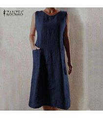 zanzea de las mujeres sin mangas del hombro larga camisa de vestir de verano del vestido del tanque vestido de tirantes plus -azul marino