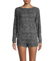 tart women's sienna 2-piece animal print sweatshirt & shorts set - layered leopard - size l