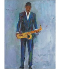 "samuel dixon sax in a blue suit canvas art - 20"" x 25"""