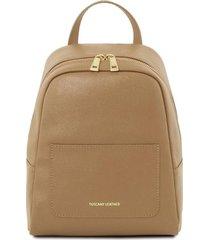 tuscany leather tl141701 tl bag - zaino piccolo in pelle saffiano da donna caramello