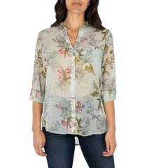 women's kut from the kloth jasmine top, size large - green