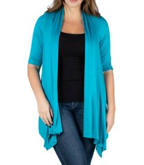 24seven comfort apparel women's plus size elbow length sleeve open front cardigan