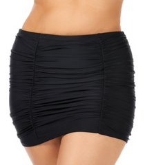 raisins curve trendy plus size juniors' ruched costa high-waist swim skirt women's swimsuit