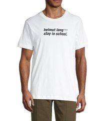 helmut lang men's stay in school t-shirt - white - size xs