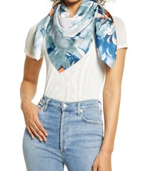 women's nordstrom print silk square scarf, size one size - blue/green