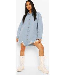 petite oversized spijkerblouse met versleten zoom, mid blue