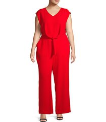 plus self-tie cap-sleeve jumpsuit