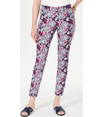 charter club petite printed tummy-control jeans, created for macy's