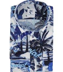korte mouwen overhemd r2 donkerblauw dessin