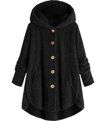 hooded fluffy plus size high low teddy coat