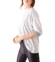 women's free people be free mock neck stripe tunic, size small - black
