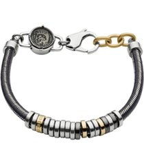 diesel men's stainless steel and gray nylon cord bracelet