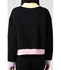 olivia rubin women's cassia jersey varsity jacket - black - m