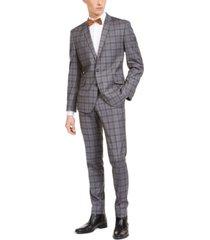 billy london men's slim-fit performance stretch gray plaid suit
