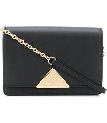 emporio armani triangle logo crossbody bag - black