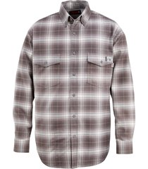 wolverine men's fr plaid long sleeve twill shirt charcoal, size l