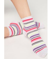 calzedonia colorful patterned ankle socks woman stripes size tu
