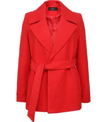abrigo vero moda rojo - calce regular