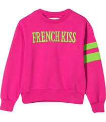 alberta ferretti fuchsia sweatshirt with frontal embroidery