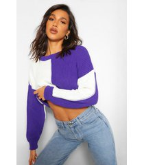 colourblock cropped sweater, purple
