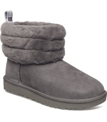 w fluff mini quilted shoes boots ankle boots ankle boots flat heel grå ugg