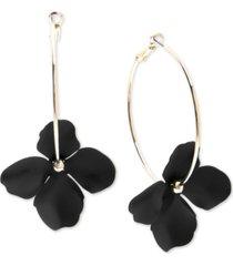 zenzii gold-tone & suede-painted-finish flower hoop earrings