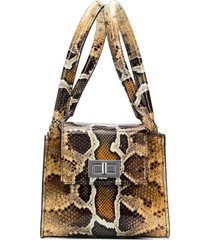 by far snake-print structured tote - brown