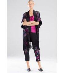 nouveau embroidery wrap pajamas, women's, black, 100% silk, size l, josie natori