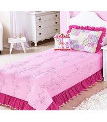 colcha / cobre leito rosa menina com carrossel bordado e almofada de cavalinho - enxovais ibitinga - rosa - dafiti