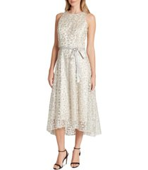 tahari asl allover-embroidered midi dress