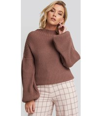 na-kd balloon sleeve knitted sweater - pink