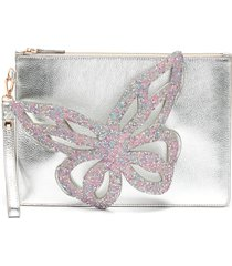 'flossy' glittered butterfly embellished pouchette