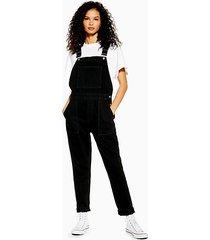 black denim overalls - washed black