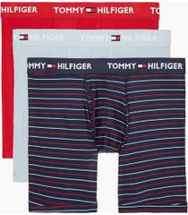 tommy hilfiger men's everyday microfiber boxer brief 3pk blue fog/navy/tangored/blue fog stripe/tango red - xl