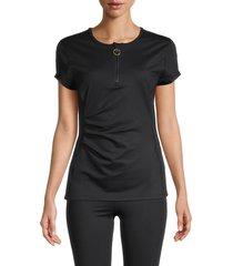 roberto cavalli sport women's draped quarter-zip top - black - size s