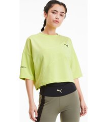 evide form stripe cropped t-shirt voor dames, groen/aucun, maat xs | puma