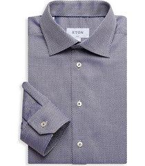 eton men's slim-fit diamond-print dress shirt - blue - size 17
