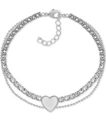 essentials crystal & heart double row ankle bracelet in fine silver-plate