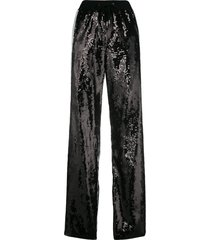 alberta ferretti sequin side striped track pants - black