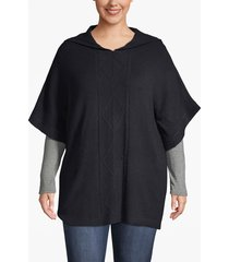 lane bryant women's cable knit hooded poncho 22/28 night sky